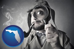 florida map icon and vintage investigator smoking a pipe and holding a magnifying glass