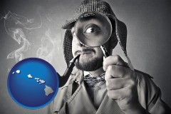 hawaii map icon and vintage investigator smoking a pipe and holding a magnifying glass