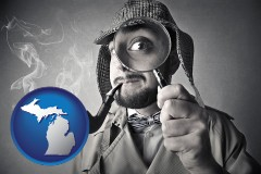 michigan map icon and vintage investigator smoking a pipe and holding a magnifying glass