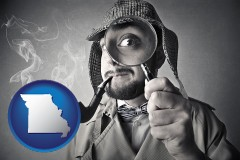 missouri map icon and vintage investigator smoking a pipe and holding a magnifying glass
