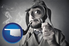 oklahoma map icon and vintage investigator smoking a pipe and holding a magnifying glass
