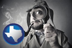texas map icon and vintage investigator smoking a pipe and holding a magnifying glass